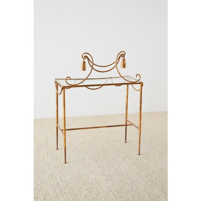 Hollywood Regency Gilt Iron and Faux Rope Vanity For Sale - Image 12 of 13