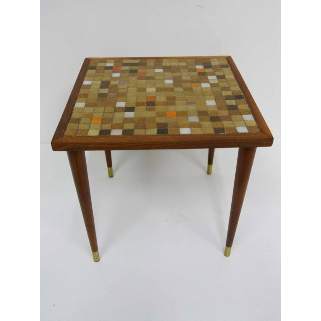 Mid Century Mosaic Tile Side Table - Image 3 of 7