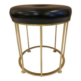 1950s French Bronze and Steel Stool Attributed to Maison Jansen For Sale