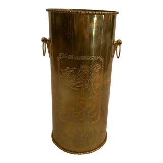 Brass Etched Umbrella Stand For Sale