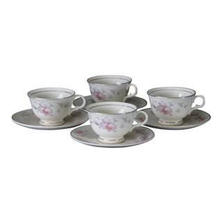 Limoges Usa Marked Candlelight Pink Rose Pattern China Silver Moon Cups and Saucers - Set of 4 For Sale