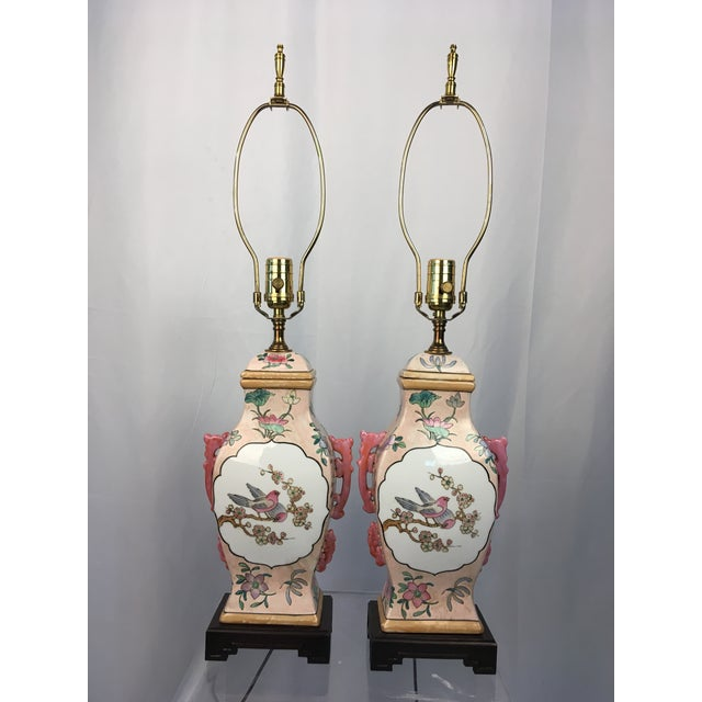Ceramic Pink With Floral Motif Chinoiserie Vintage Lamps - a Pair For Sale - Image 7 of 9
