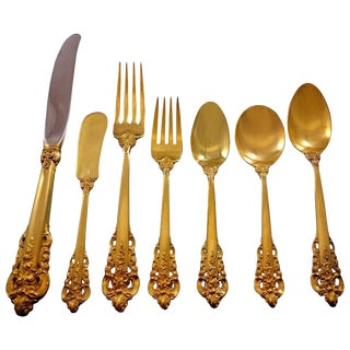Golden Grande Baroque by Wallace Sterling Silver Flatware Set Dinner 57 Pieces Gold For Sale