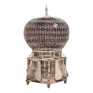 Early 20th Century French Carved and Painted Air Balloon Shape Birdcage For Sale