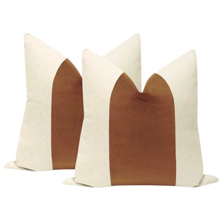"22"" Sable Brown Velvet Panel & Linen Pillows - a Pair For Sale"