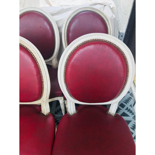 Louis XVI Red Leather Oval Back Dining Chairs - Set of 6 For Sale - Image 12 of 13
