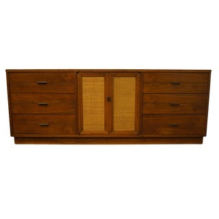 Vintage Lane Furniture Alta Vista, Va Asian Inspired Mid Century Modern Triple Door Dresser For Sale