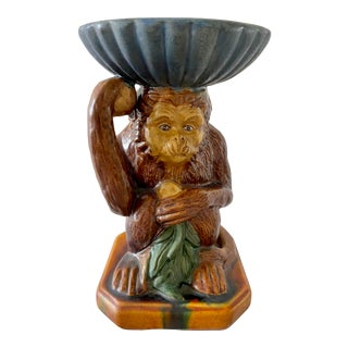 Vintage Majolica Monkey With Decorative Bowl For Sale
