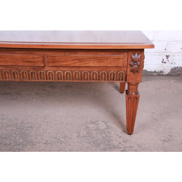 1960s Baker Furniture French Regency Louis XVI Style Burled Walnut Coffee Table, Newly Restored For Sale - Image 5 of 12