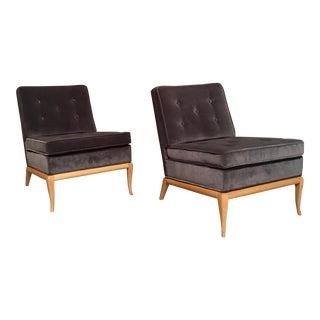 Mid-Century Modern t.h. Robsjohn Gibbings Dark Grey VelvetSlipper Chairs - a Pair For Sale