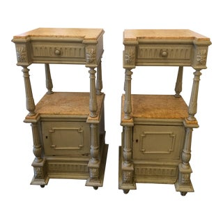 Napoleon III Gray Painted Marble-Top Side Tables - a Pair For Sale