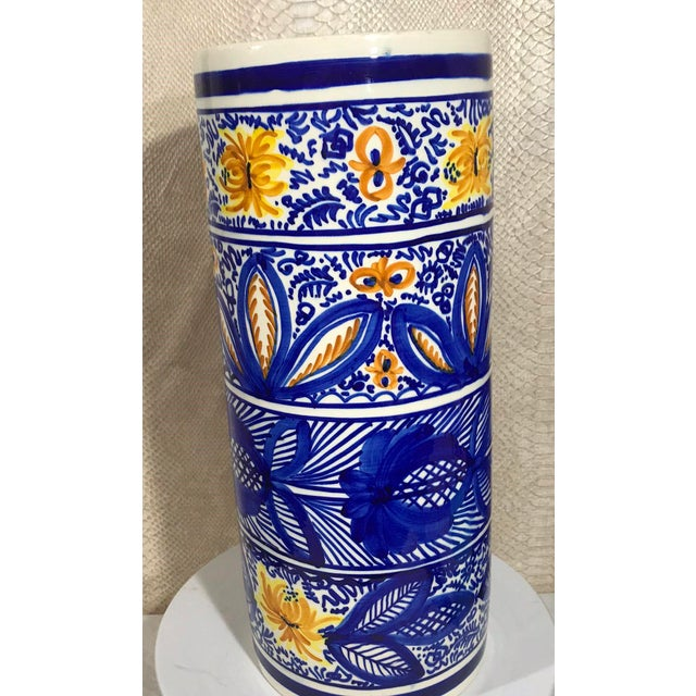 Boho Chic 20th Century Boho Chic Hand Painted Spanish Umbrella Stand / Holder Floor Vase For Sale - Image 3 of 6