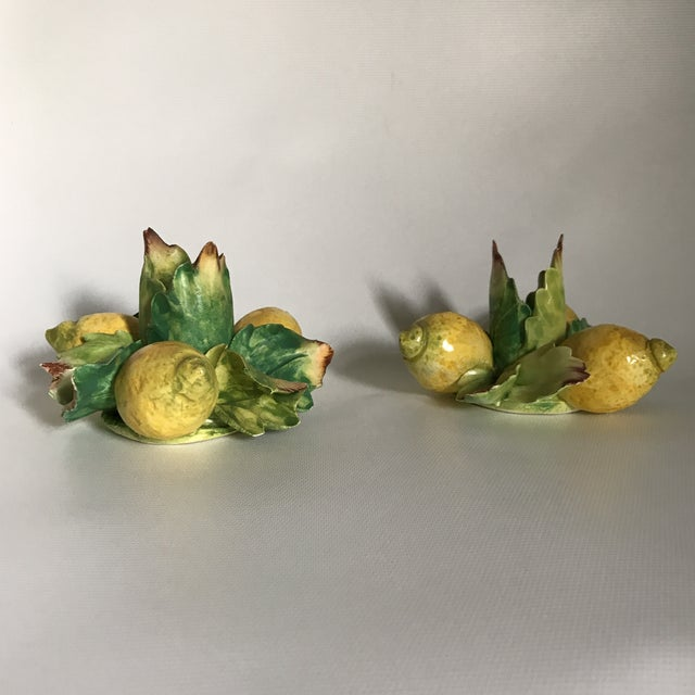 Italian Majolica Porcelain Lemon Candle Holders - a Pair For Sale - Image 4 of 11