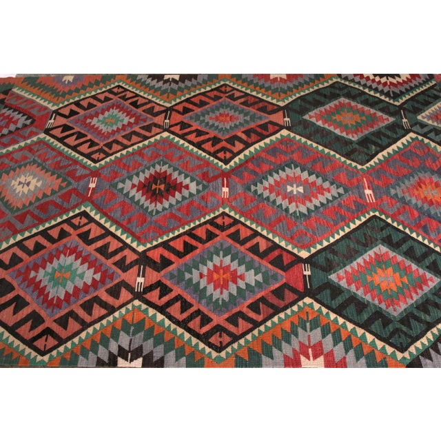 Tribal Mid-Century Vintage Kilim Rug in Green Pink Multicolor Tribal Geometric Pattern For Sale - Image 3 of 5