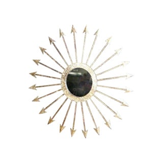 Hollywood Regency Gilt Iron Starburst Mirror For Sale