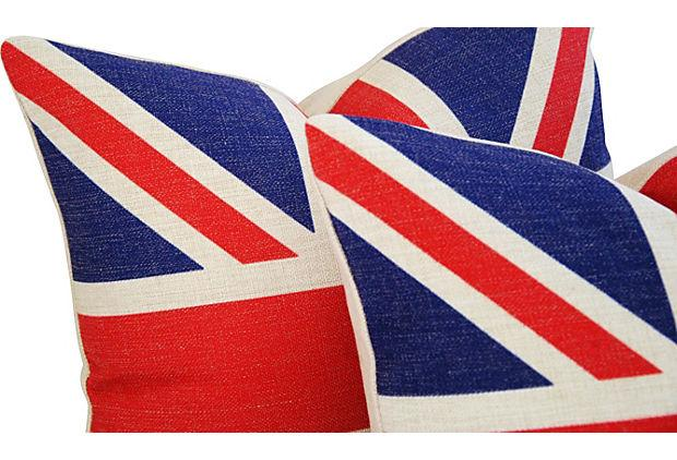 British Union Jack Linen Feather Down Flag Pillows A