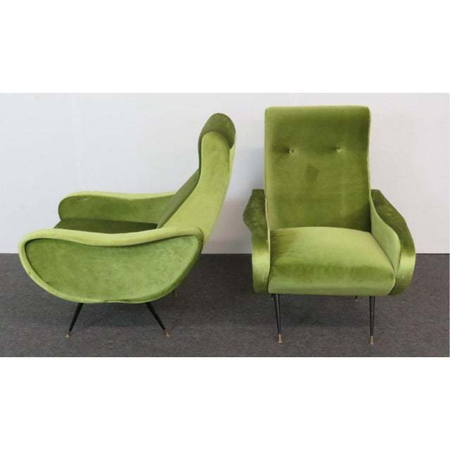 Marco Zanuso Final Markdown > Mid-Century Zanuso Style Lime Green Velvet Lounge Chairs - a Pair For Sale - Image 4 of 7