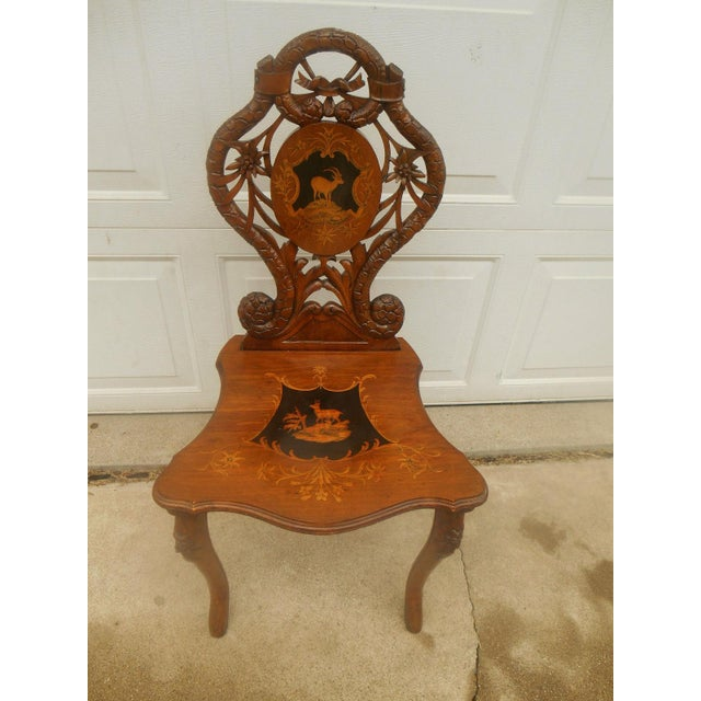 Antique Hand Carved Accent Chair - Image 3 of 8