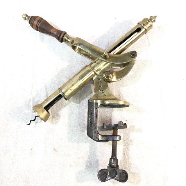 "Antique ""The Swift"" Brass Tabletop Corkscrew Bottle Opener For Sale - Image 13 of 13"