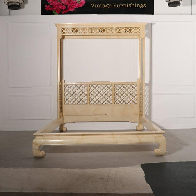 Rare Henredon lattice canopy bed in a faux goat skin finish with brass accents. Ming style feet.