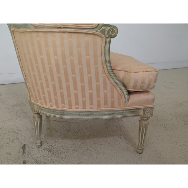 1980s Vintage French Louis XV Style Paint Decorated Bergere Chair For Sale In Philadelphia - Image 6 of 12