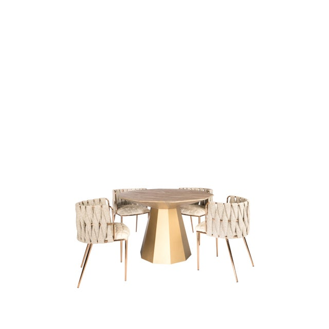 2010s Contemoprary Lucia Gold Elm Wood Dining Table For Sale - Image 5 of 6