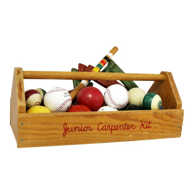 Object D 'Art Centerpiece Junior Carpenter Kit Tool Box With Balls and Horseshoes For Sale
