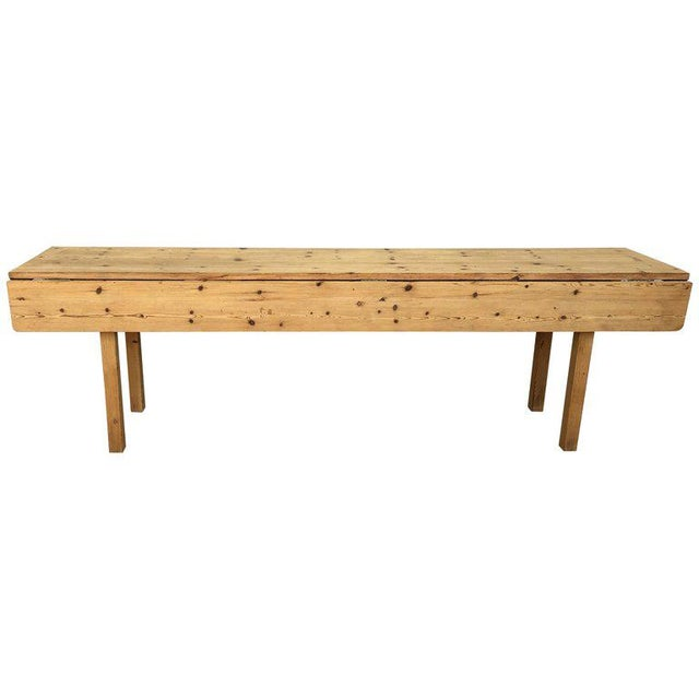 20th Century Midcentury Large Pine Drop-Leaf Country Farm Table With Two Leaves For Sale - Image 12 of 12