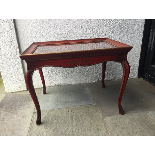 Red 1950s Chinoiserie Red Hand Painted Coffee Table For Sale - Image 8 of 13