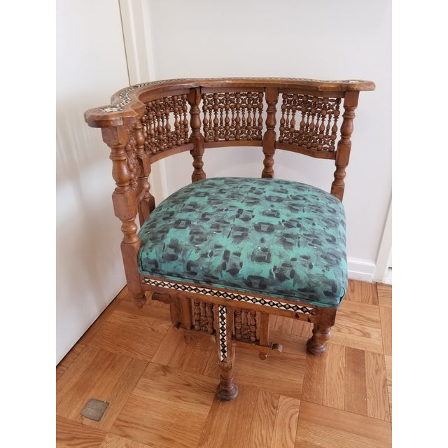 A perfect combination of vintage and modern, this antique Moroccan side chair has been updated and upholstered in a funky...
