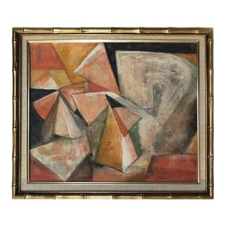 1950s Midcentury Cubist Abstract Oil Painting on Board For Sale