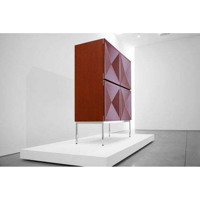 French Antoine Philippon and Jacqueline Lecoq, Cabinet, 1307 Series, Edition Erwin Behr, C. 1962, Mahogany, Pressed Plywood, Chrome-Plated Steel For Sale - Image 3 of 9