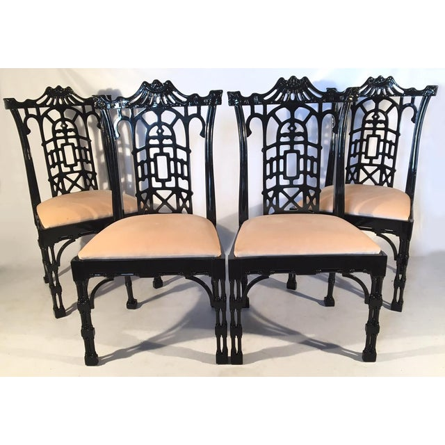 Black Lacquer Asian Chinoiserie Pagoda Dining Chairs - Set of 4 For Sale - Image 4 of 11