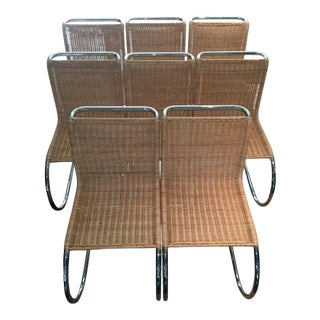Mid-Century Modern Mies Van Der Rohe Wicker Dining Chairs - Set of 8