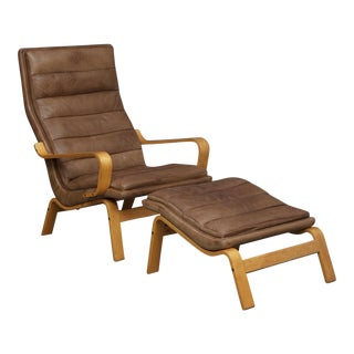 Vintage Mid-Century Yngve Ekström for Swedese Contino Armchair & Ottoman For Sale