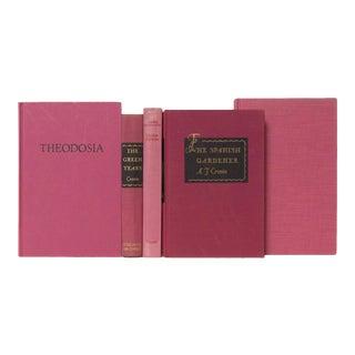 Mid 20th Century Fushia & Blush Book Set For Sale