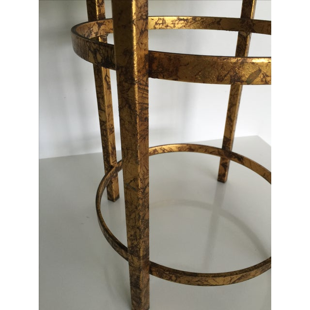 Gold Leopard Fabric Stool - Image 3 of 4