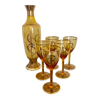 Gilt Amber Glass Vintage Decanter and Glasses Set - Set of 6 For Sale