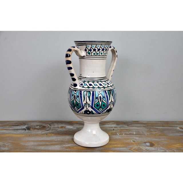 "Handpainted Vintage Italian Blue and White Decorative Vase. Wonderful colors, great condition. Dimensions: W 8"" x D 5.5"" x..."