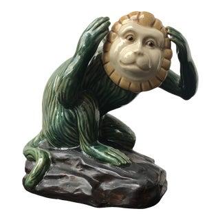 Vintage Majolica Monkey Figurine For Sale