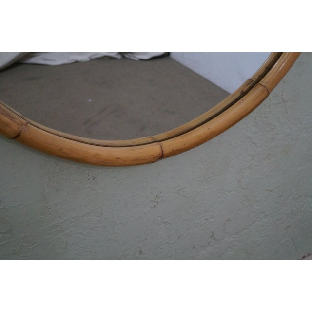 Mid-Century Round Bamboo Wall Mirror - Image 5 of 10