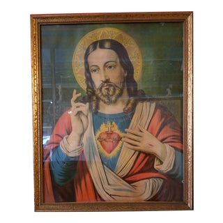 Early 20th Century Sacred Heart Jesus Lithograph, Framed For Sale