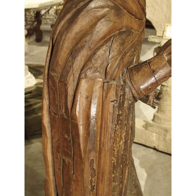 Religious Large Antique Polychromed Wood Statue of a Bishop, Circa 1650 For Sale - Image 3 of 12