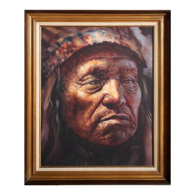 Jorge Braun Tarallo, American Indian Chief Portrait, Oil on Canvas For Sale