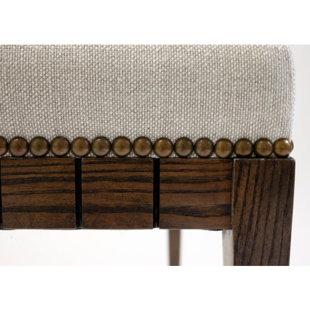 Wood Bench With Solid Seat and Hand-Carved Detail on Frame For Sale In New York - Image 6 of 7