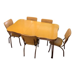 1950s Mid Century Modern Dinette Table With Chairs - 6 Piece Set