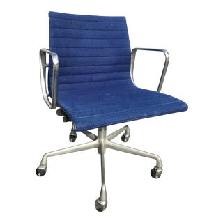 1980s Herman Miller Eames Blue Upholstered Aluminum Group Chair