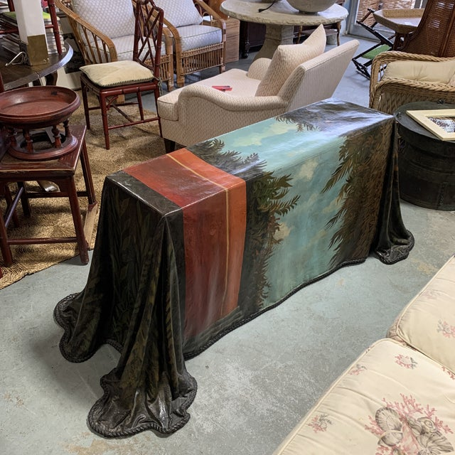 Plastic Trompe l'Oeil Fiberglass Draped Cheetah Skilling Style Painting Console Table For Sale - Image 7 of 13