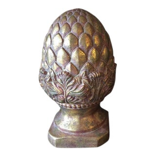 1980s Ceramic Pineapple Finial With Acanthus Leaf Detail For Sale