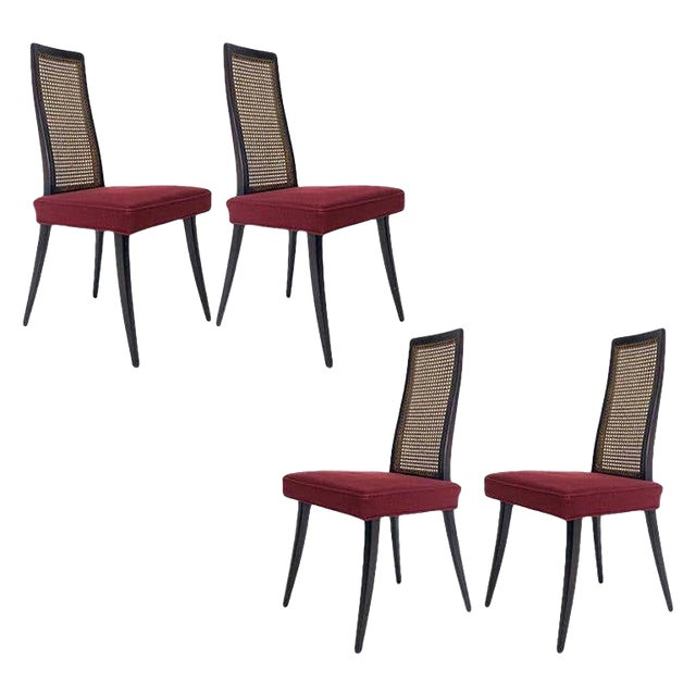 Set of 4 Harvey Probber Cane and Ebonized Mahogany Model 1055 Dining Chairs For Sale